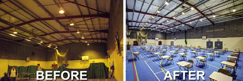 Before and After images of Marl LED lighting in sports hall